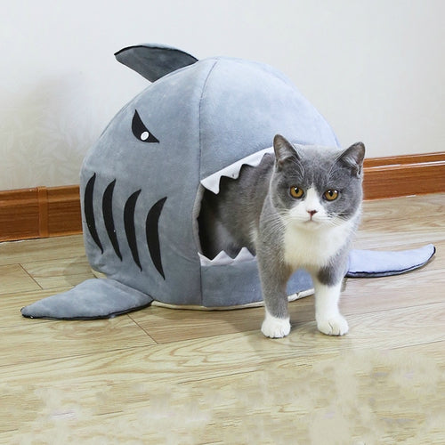 Shark Pet Bed Warm Pet Products Soft Cartoon House For Cat Washable Puppy Bed Winter Dog Cushion - Petgo Wholesale