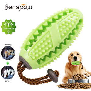 Benepaw Interactive Dog Toys Toothbrush IQ Treat Dispensing Ball Rope Safe Teeth Cleaning Pet Chew Toy Puppy Play Game Training