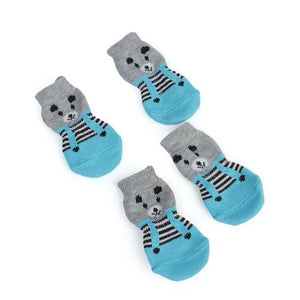 2 Pairs/SET Pet Dog Shoes Anti-Slip Knit Socks Small Dogs Cat Socks Chihuahua Paw Protector Booties Accessories Pet Products - Petgo Wholesale