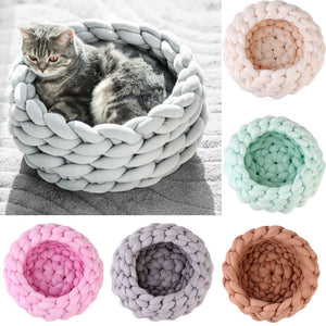 Knitting Cotton Large Pet Dogs Cats Bed Soft Warm Kennel Mat Puppy Cushion House - Petgo Wholesale