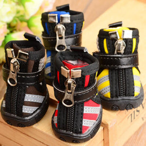 New 4pcs/set Pet Dog Shoes Winter Super Warm Waterproof Dog Boots Zipper Anti-Slip Puppy Shoes Snow Boot Chihuahua XS-XL - Petgo Wholesale