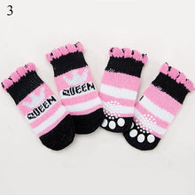 Load image into Gallery viewer, 4pcs Winter Pet Dog Shoes Anti-Slip Knit Socks Small Dogs Cat Shoes Chihuahua Thick Warm Paw Protector Dog Socks Pet Products - Petgo Wholesale