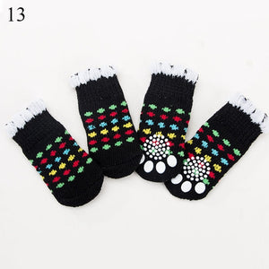 4pcs Winter Pet Dog Shoes Anti-Slip Knit Socks Small Dogs Cat Shoes Chihuahua Thick Warm Paw Protector Dog Socks Pet Products - Petgo Wholesale
