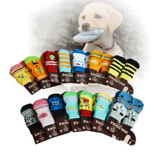 Load image into Gallery viewer, 4Pcs Indoor Pet Dog Soft Cotton Anti-slip Knit Weave Warm Sock Skid Bottom Dog Shoes Drop shipping - Petgo Wholesale