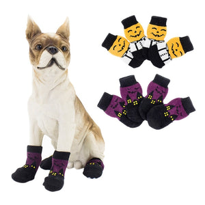 Halloween Pet Waterproof Pumpkin Socks Anti-slip Sole Paw Protectors, Small Medium Dog Dirty-proof Feet Cover - Petgo Wholesale