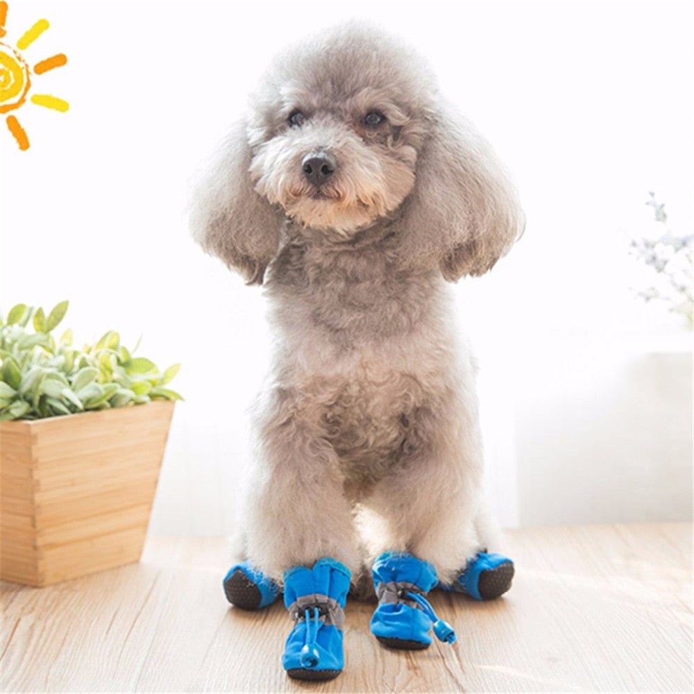 4pcs/set 7 Sizes Nylon Cotton Pet Dog Shoes Waterproof Non-slip Winter Dog Rain Snow Boots Footwear For Puppy Small Cats Dogs - Petgo Wholesale