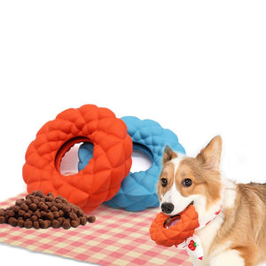 Rubber Molar Round Toy Dog Leaking Food Ring Chewing Bitting IQ Training Interactive Pet Toys Z