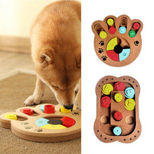 Load image into Gallery viewer, 2019 Training Natural Food Treated Wooden Paw Shape Pet Dog Cat IQ Toys Educational Feeding Game Paw Puzzle Plate Playing Toy