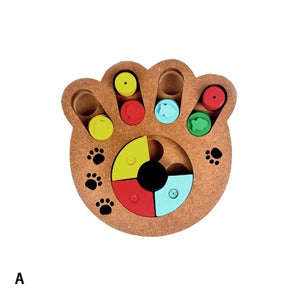 2019 Training Natural Food Treated Wooden Paw Shape Pet Dog Cat IQ Toys Educational Feeding Game Paw Puzzle Plate Playing Toy