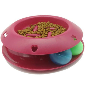 Botique-Slow Feeder Pet Bowl Fun Interactive Scratcher Cat Dog Bowl Tower Of Track IQ Treat Ball Toy Stop Bloat Slow Food Bowl F