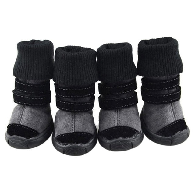 Pet Winter Winter Animal Shoes Anti-Slip Leather Soft Cashmere Waterproof Warm Boots Chill Trend - Petgo Wholesale