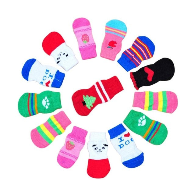 Fashion 4Pcs Cute Puppy Dogs Pet Knits Socks Anti Slip Skid Bottom Ropa Para Mascotas #QP - Petgo Wholesale