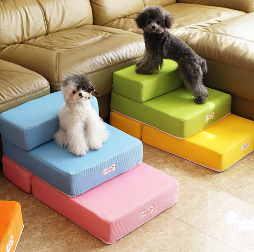 Breathable Mesh Foldable Pet Stairs Detachable Pet Bed Stairs Dog Ramp 2 Steps Ladder for Small Dogs Puppy Cat Bed Cushion Mat - Petgo Wholesale