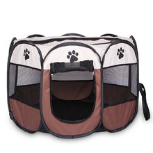 Load image into Gallery viewer, Portable Folding Pet tent Dog House Cage Dog Cat Tent Playpen Puppy Kennel Easy Operation Octagon Fence - Petgo Wholesale