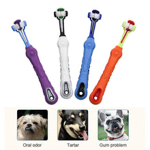 Load image into Gallery viewer, Pet Dog Toothpaste Toothbrush Three-Tooth Anti-Slip Pet Dog Tooth Cleaning Oral Dental Care Tool Supplies Cleaning Mouth - Petgo Wholesale