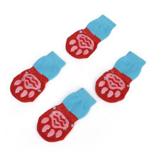 Load image into Gallery viewer, 4 pcs/set Indoor Pet Dog Socks Soft Quality Cotton Warm Antiskid Paws Dirts Away Easy Washing Dog Cat Shoe Socks - Petgo Wholesale