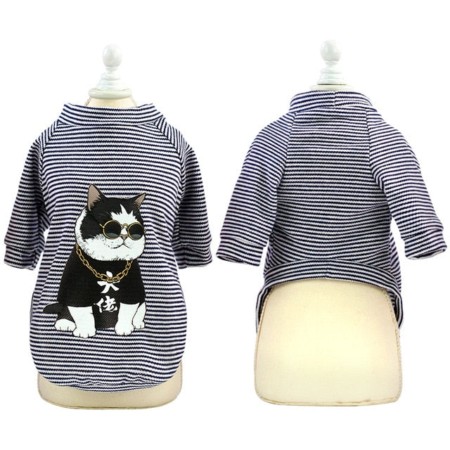 Fashion Cat Clothes Pet Dog Clothes For Small Dogs Cats Soft Cotton Summer Kitten Puppy Clothing Vest Stripe Dog T-shirt Shirts - Petgo Wholesale