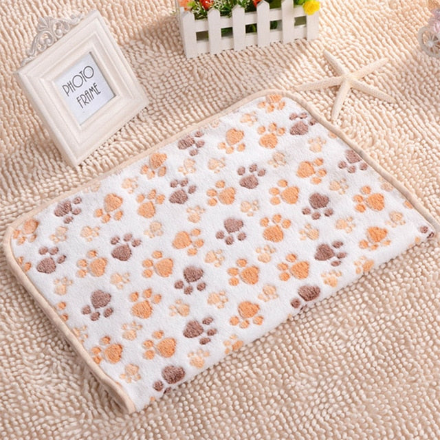 40x60cm Cute Dog Bed Mats Soft Flannel Fleece Paw Foot Print Warm Pet Blanket Sleeping Beds Cover Mat For Small Medium Dogs Cats - Petgo Wholesale