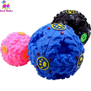 Dog Toys IQ Treat Ball Dog Food Dispenser Teeth Cleaning Chewing Non-Toxic Durable Rubber Playing Chew Squeaky Toy Balls