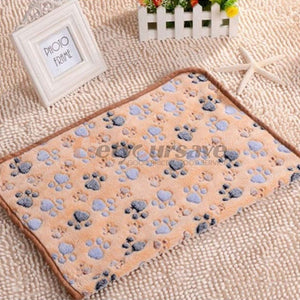 Cute Pet Small Warm Blanket Paw Print Dog Cat Hamsters Puppy Fleece Soft Beds Mat Cushion Pad - Petgo Wholesale