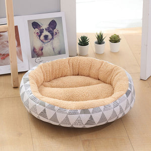 Soft Pet Dog Bed Washable Round Cat Cot Nest Non-slip Pet House Dog Cushion Short Plush Mats Lounger Sofas Products for Dogs - Petgo Wholesale