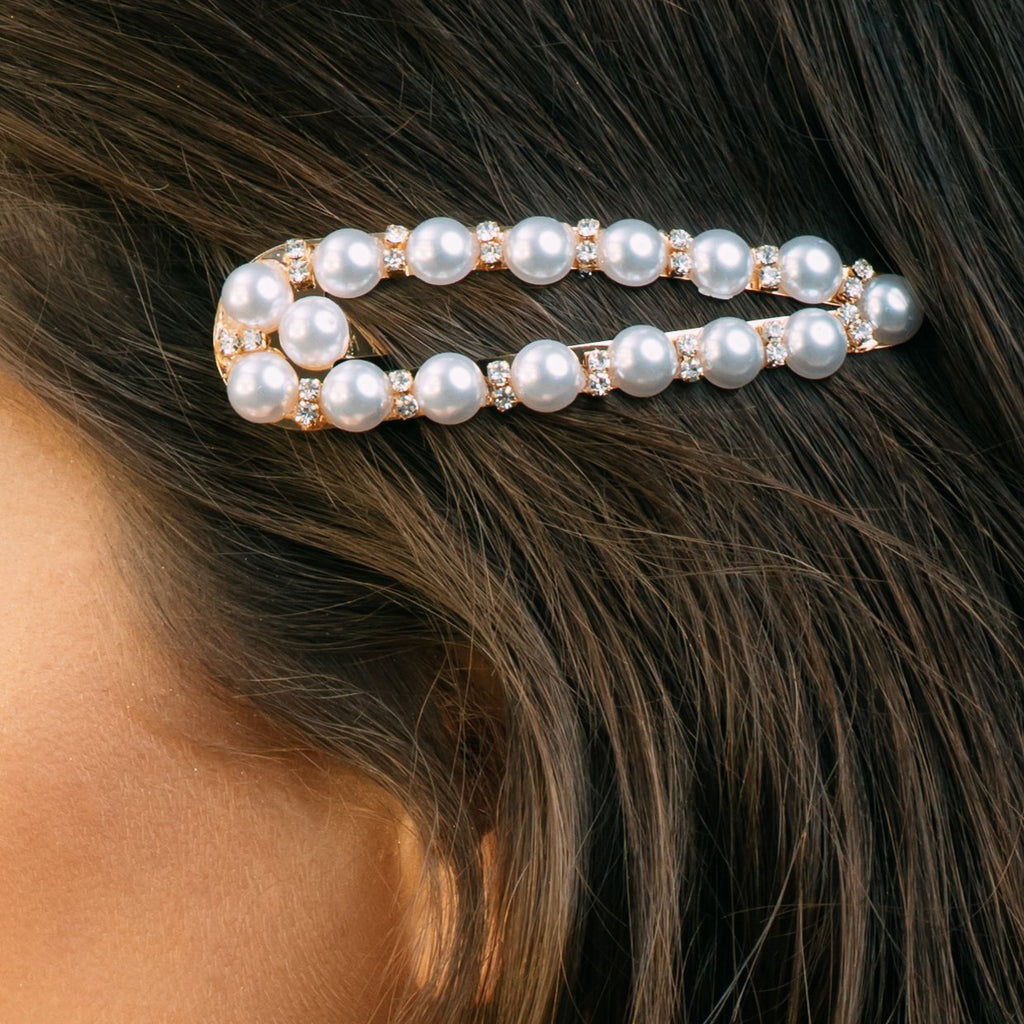 Large Crystal and Pearl Hair Clip