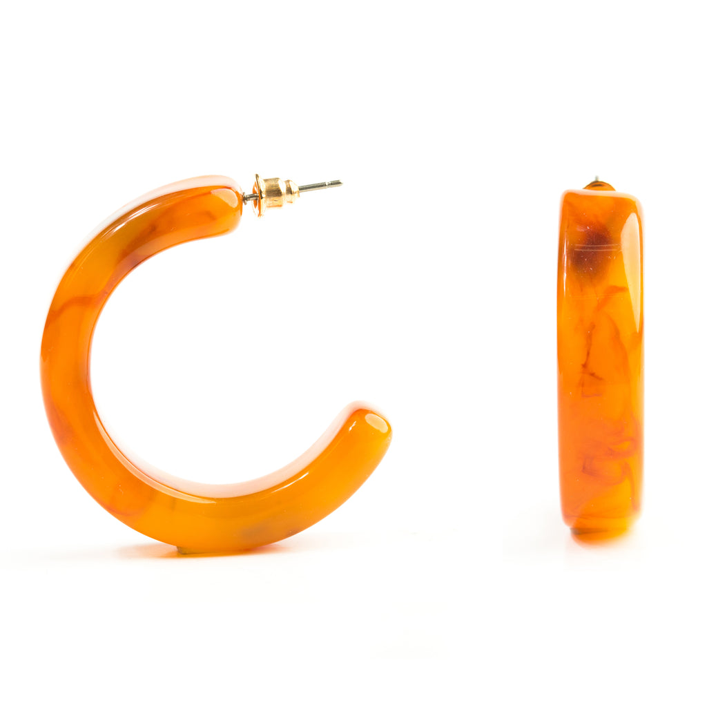 Tortoise Shell Large Hoop Earrings Rust - Mona