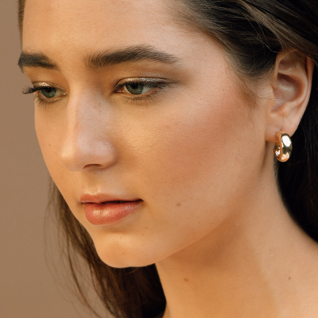 Gold Chunky Mini Hoop Earrings - Lila