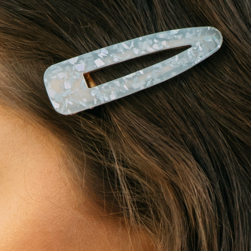 Iridescent White Large Confetti Barrette
