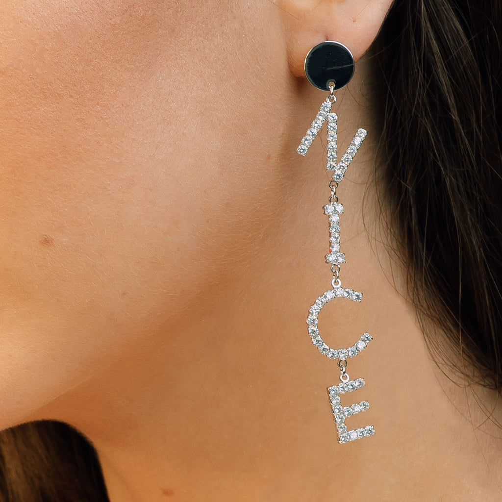 """NICE"" Word Play Crystal Earrings - Liz"