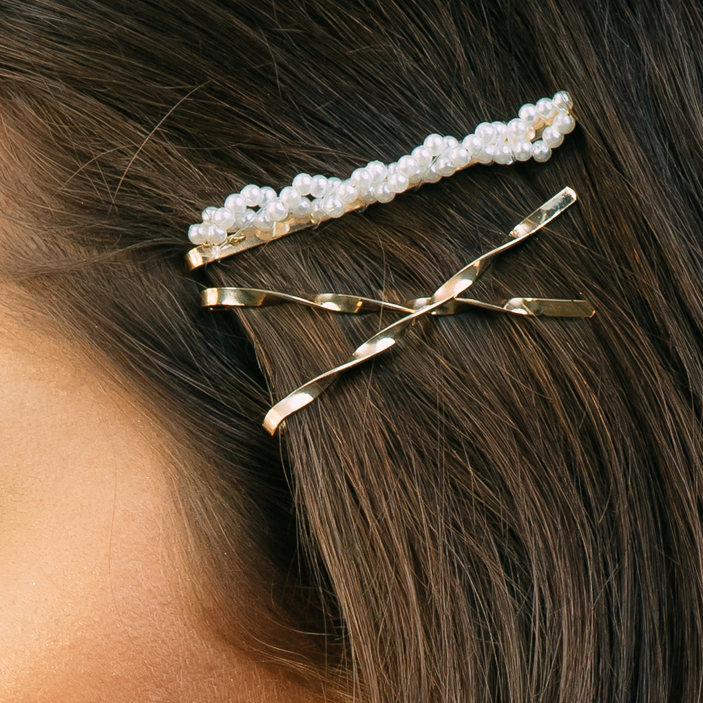 Simple Gold & Pearl Barrette - Set of 3
