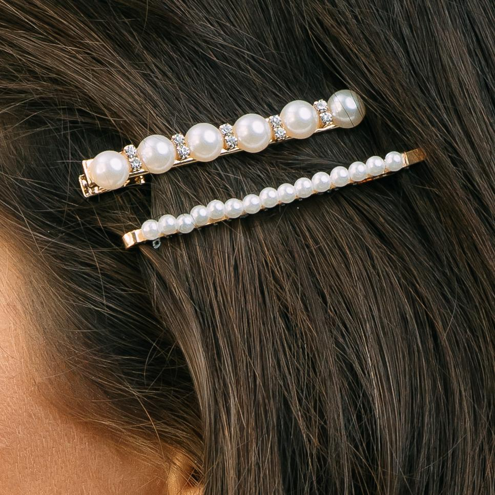 Crystal & Pearl Hair Clip - Set of 2