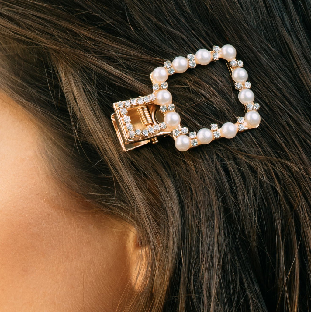 Square Crystal and Pearl Barrette