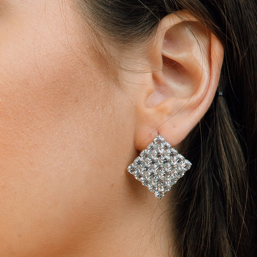 Square Crystal Studded Earrings - Kandice