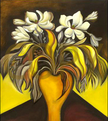 Magnolias in a Yellow Vase