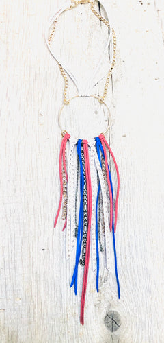 Leather Red, White & Blue Long Necklace