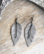 Load image into Gallery viewer, Matte Taupe Leather Feather Earrings
