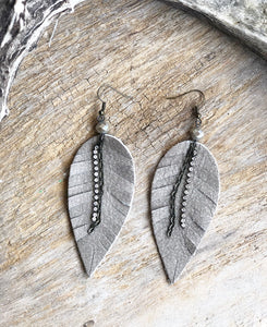 Matte Taupe Leather Feather Earrings
