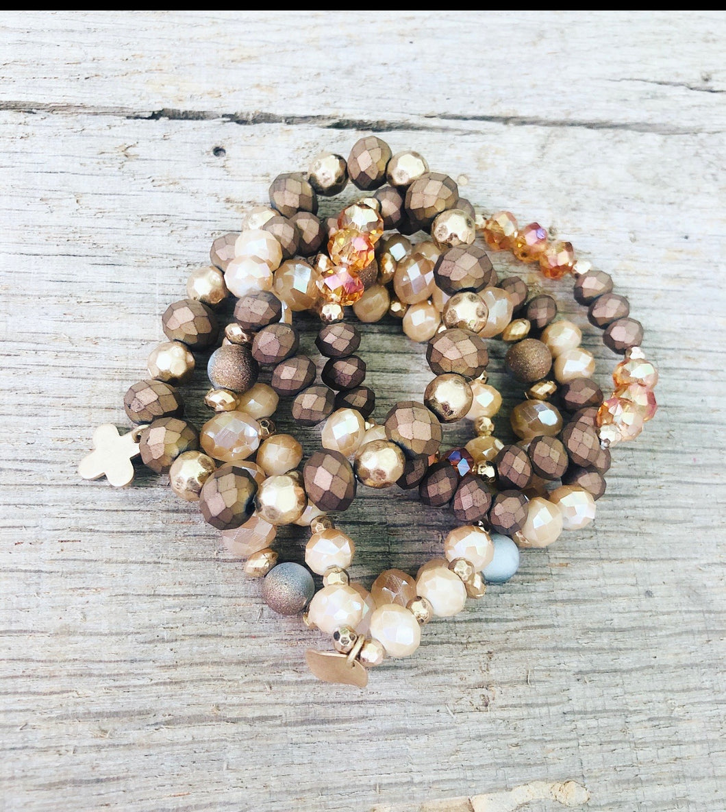 Copper Penny Beaded Bracelet Stack