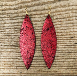 Red Shimmer with Black Leather Earrings