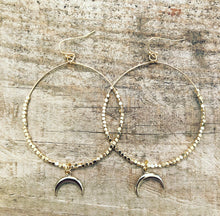 Load image into Gallery viewer, Gold & Silver Moon Hoops