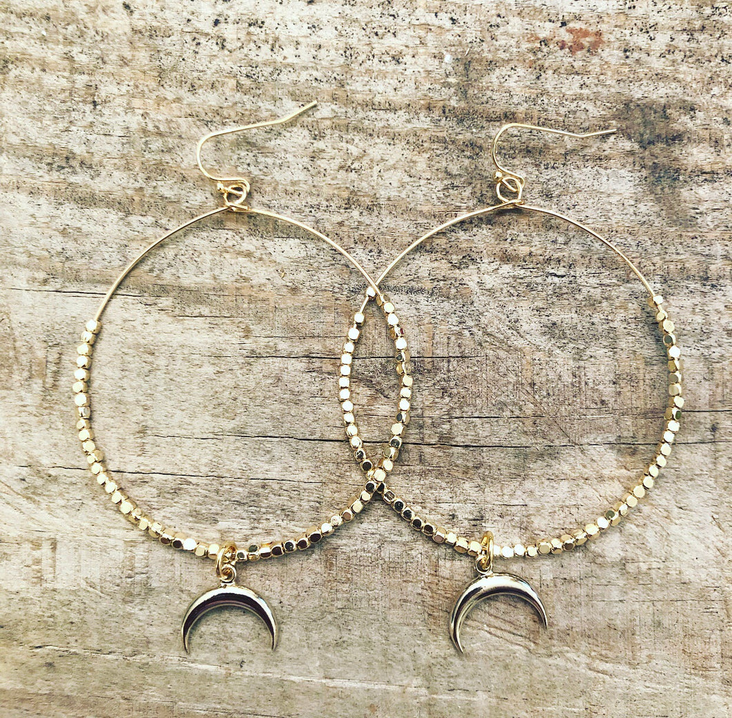Gold & Silver Moon Hoops
