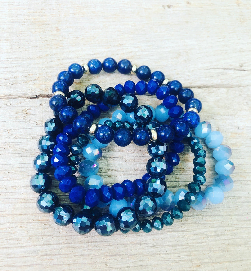 Navy Beaded Bracelet Stack
