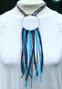 Carolina Panthers Leather Fringe Necklace