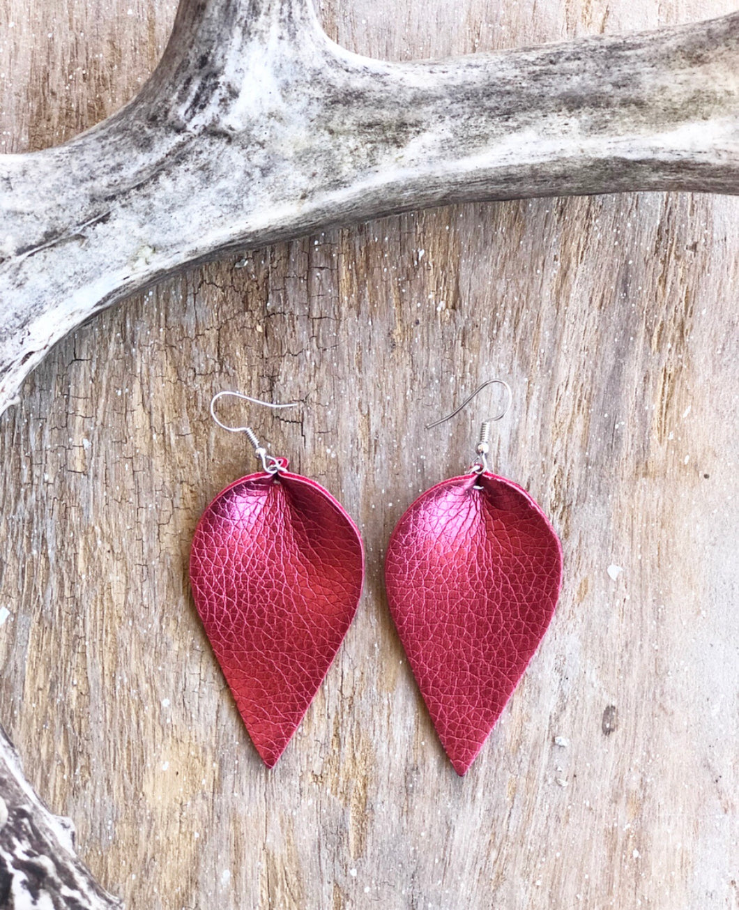 Pinched Leather Earrings (9 available colors)