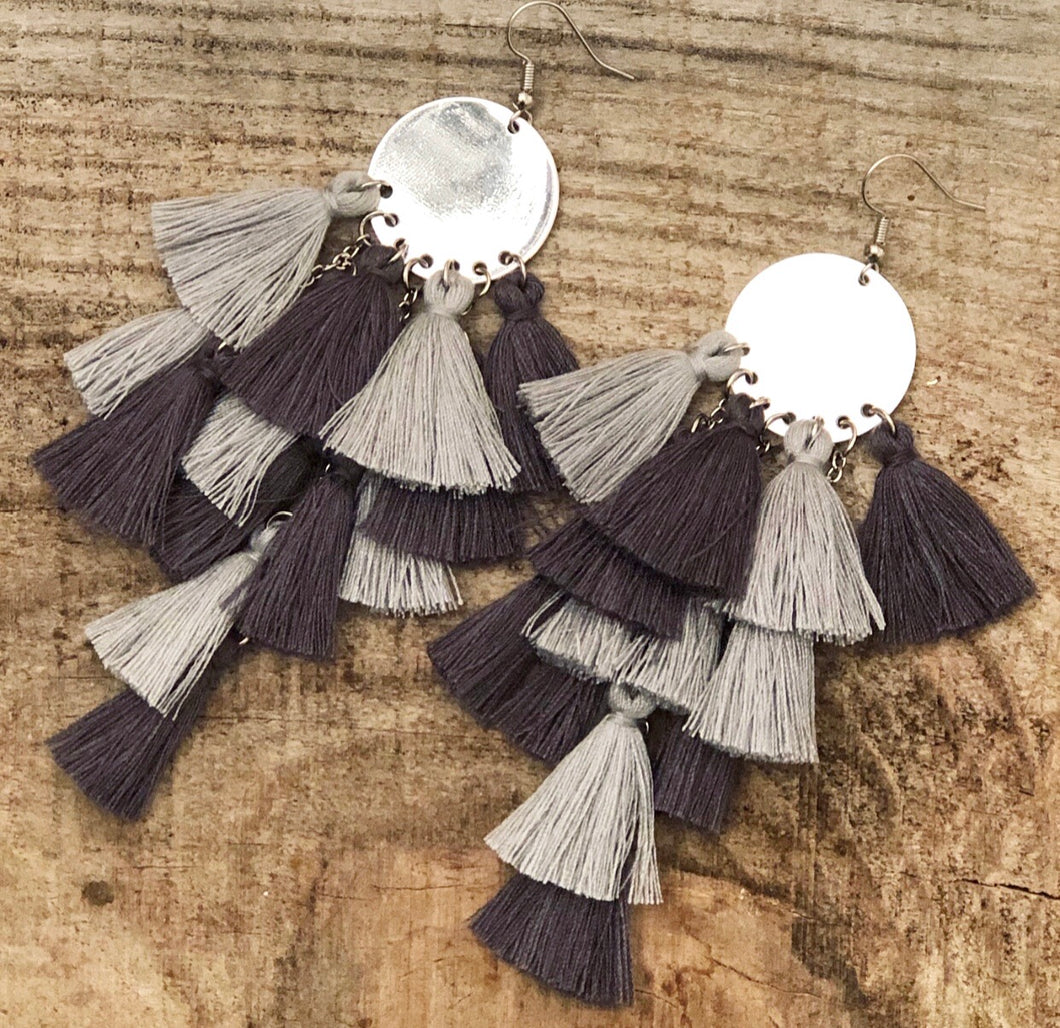 Gray Mix Tassel Earrings