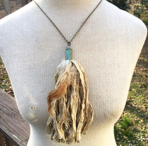 Fawn Tan Tassel Necklace with Feather