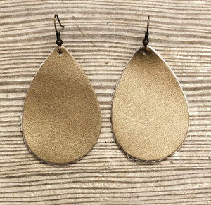Gold, Champagne, Bronze Leather Earrings