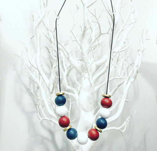 Red*White*Blue Wooden Beaded Necklace