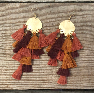 Fall Colored Tassel Earrings